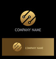round connect technology gold logo vector image