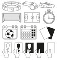 14 soccer elements black and white set vector image