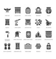 beekeeping apiculture flat glyph icons beekeeper vector image