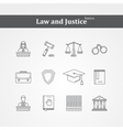 black Law and justice icons vector image vector image