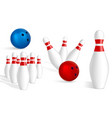 bowling icon set realistic style vector image
