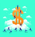 business people with dollar symbol in the sky vector image