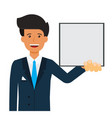 businessman with blank file cartoon flat vector image