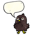 cartoon bored bird with thought bubble vector image vector image