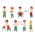 cartoon children cooks little chief cook child vector image