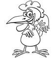 cartoon rooster bird farm animal character vector image vector image