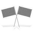 crossed checkered racing flags on white with vector image