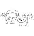 cute lion with cat animals isolated icon vector image vector image