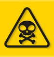danger skull and bones sign on yellow background vector image vector image