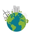 earth globe with buildings and wind turbines icon vector image