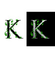 elegant k letter icon with luxury green leaf logo vector image vector image