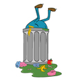 entering trash bin vector image