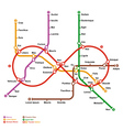 Fictional metro map in shape of infinity vector image vector image