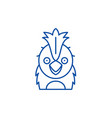 Funny parrot line icon concept funny parrot flat