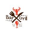 grill bar best food estd 1969 logo template hand