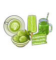 hand drawn food and drinks with matcha green tea vector image vector image