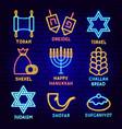 happy hanukkah label set vector image