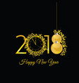 happy new 2018 year gold with clock vector image vector image