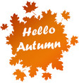Hello autumn card with orange leaves