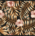 hibiscus frangipani gold palm leaves seamless vector image vector image