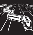 high speed train departs from a railway station vector image vector image