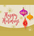 holiday card with retro christmas tree ornaments vector image vector image