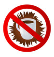 icon with crossed out cup of hot drink vector image vector image