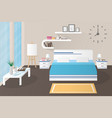 interior bedroom design with bed and accessory and vector image