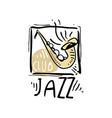 jazz logo design vintage music label element vector image vector image