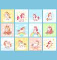 magic cute baby unicorn on rainbow cartoon vector image