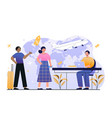 male worker is showing new tourist places resorts vector image vector image