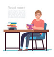 man in library young man reading book vector image vector image
