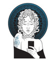 medusa gorgon selfie hand drawn line art vector image