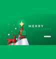 merry christmas paper cut deer forest web template vector image