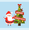 merry christmas postcard with cute santa claus vector image vector image