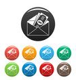 money in envelope icons set color vector image vector image