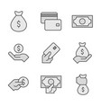 money line icons painted in gray money concept vector image vector image
