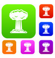 mushroom cloud set color collection vector image vector image