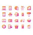 online shop simple gradient icons set vector image