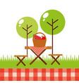 picnic party scene icon vector image vector image