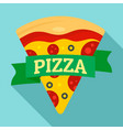 pizza slice logo flat style vector image