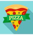 pizza slice logo flat style vector image