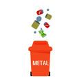 red garbage metal bin white background imag vector image vector image