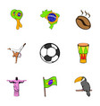 rio icons set cartoon style vector image vector image