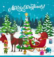 santa with xmas gifts and elf on reindeer sleigh vector image vector image