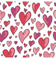 seamless hand drawn hearts pattern in shades of vector image