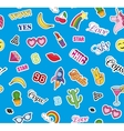 Seamless pattern with Fashion patches stickers vector image vector image