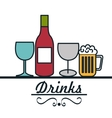 set drinks glass cup design vector image vector image