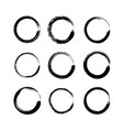 set of black grunge round shapes isolated on white vector image