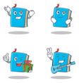 set of blue book character with successful vector image vector image